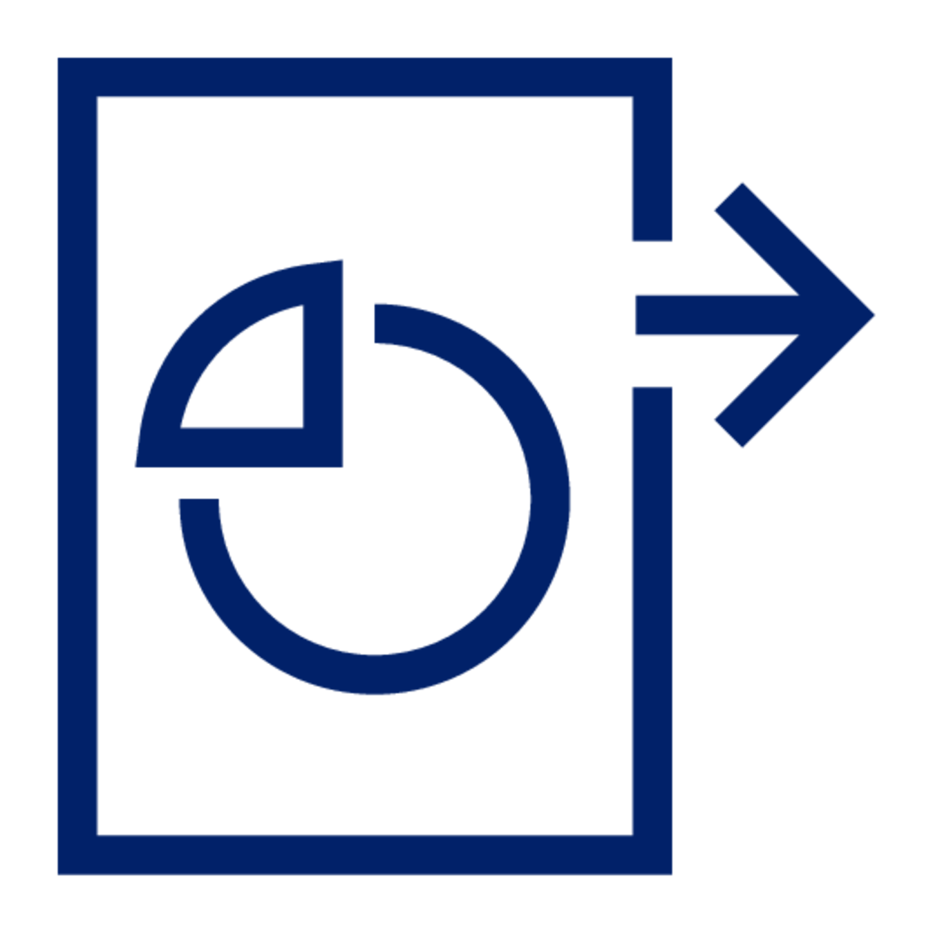 A blue icon of a document with a pie chart, showing data moving forward.