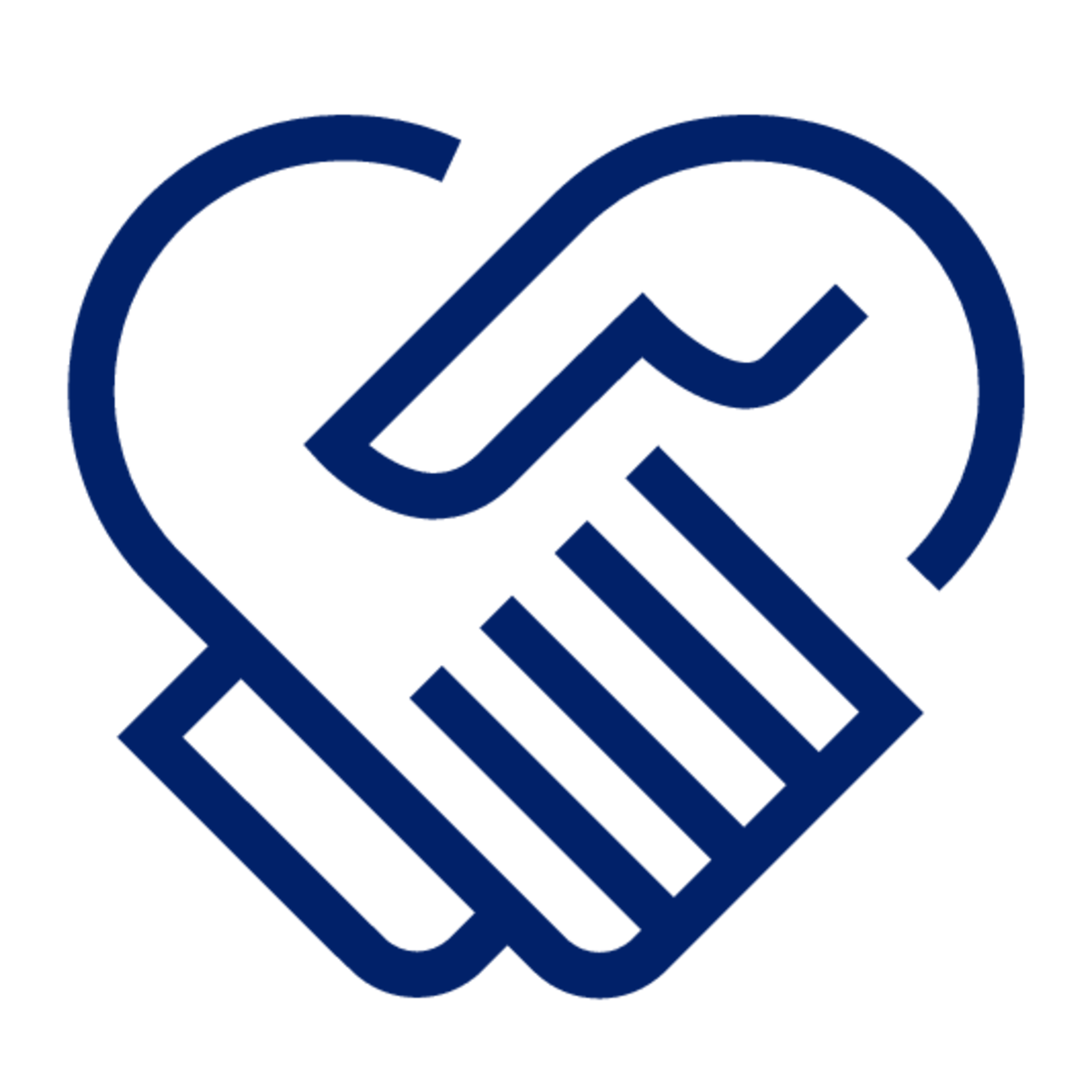 A blue icon of two hands holding, shaping a heart.