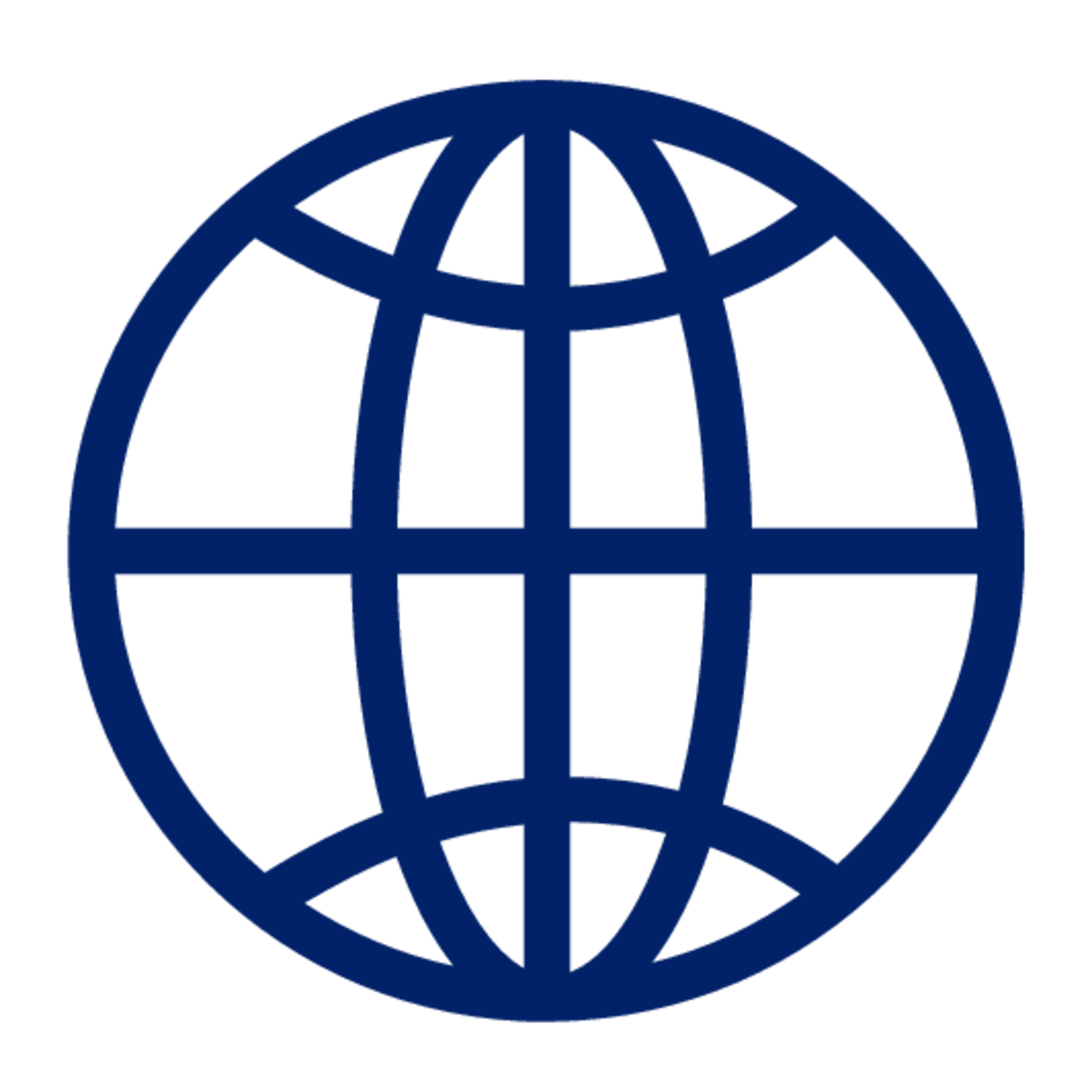 A blue icon of a globe.