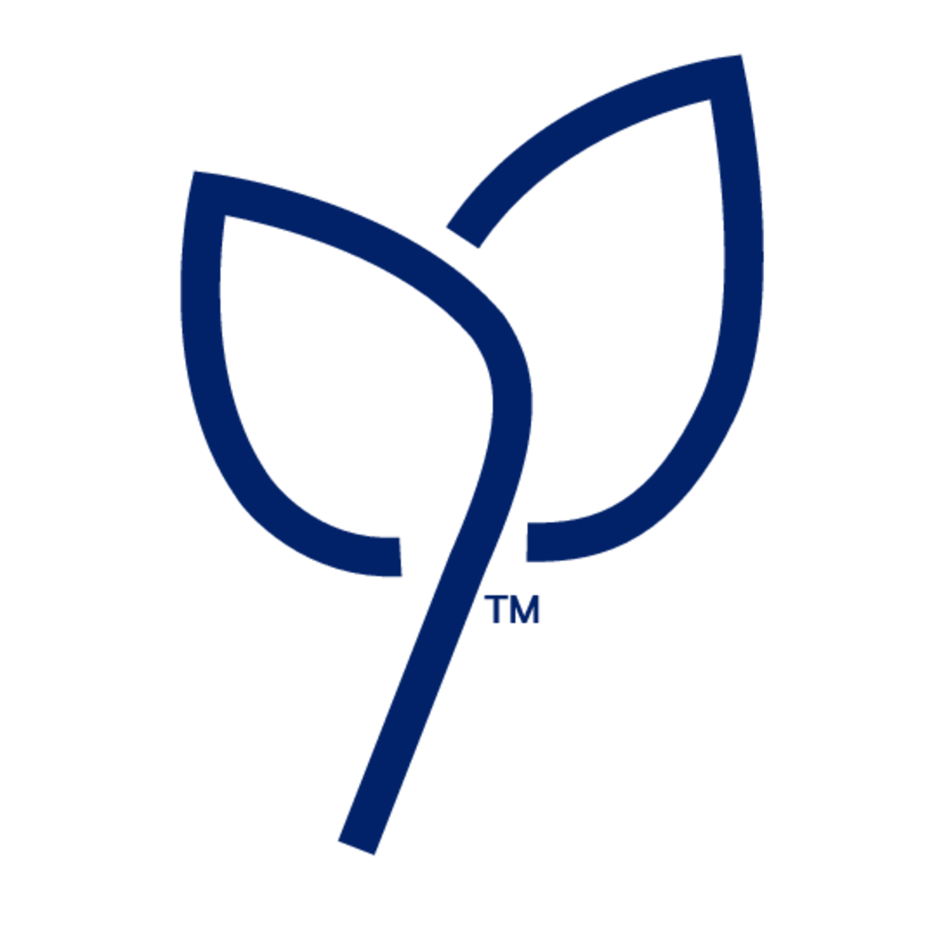 A blue icon of two leaves.