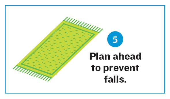 Illustration of a rug. Reads: 5. Plan ahead to prevent falls.