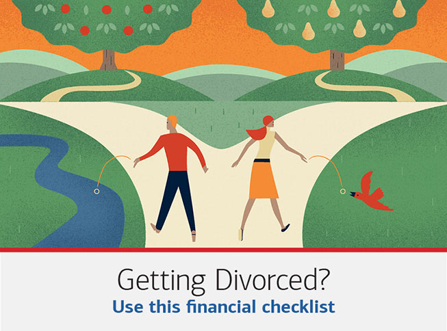 Illustration of a couple going their separate ways. The text underneath it reads: Getting divorced? Use this financial checklist. Splitting your finances during a divorce is never easy. These steps can help smooth the process.