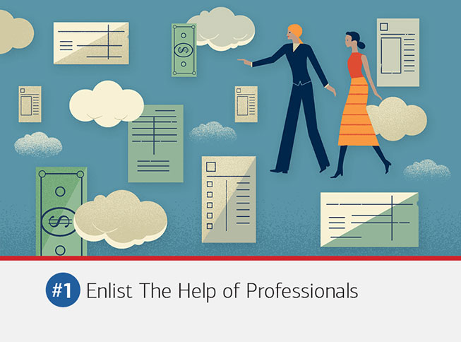 Illustration of a couple navigating through financial records and documents. The text underneath it reads: #1 Enlist the help of professionals. You don't have to go it alone. A divorce attorney, an accountant, an advisor — cool heads who have seen it all before — can help you develop a plan, maintain perspective and move forward with confidence.
