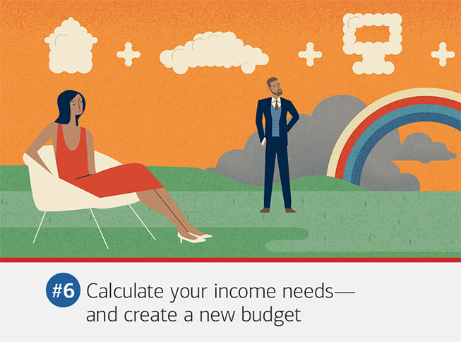 Illustration of a couple standing separately. The text underneath it reads: #6 Calculate your income needs — and create a new budget. You can't figure out how much income you'll need if you don't know how much you can spend now, so look at your current budget and think about your future plans. Talk to an advisor about any adjustments you might need to make in how you spend, save and invest in your future.