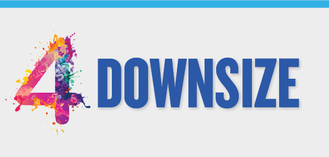 Image slide detailing four columns listing the four different benefits of downsizing.