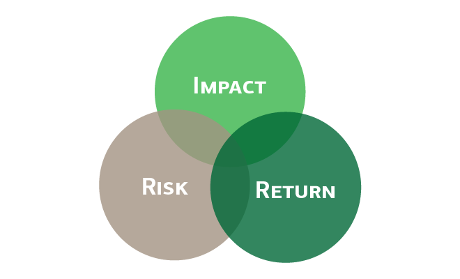 Three circles labeled Impact, Risk and Return, overlapping in venn diagram.