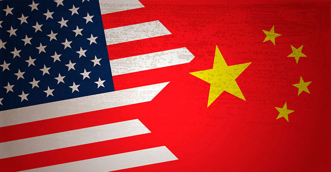 Graphic for an American flag on the left side and a Chinese flag on the right side