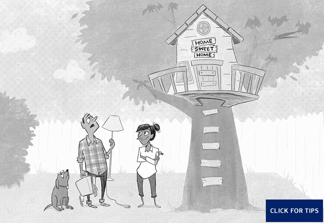 Graphic showing an illustration of a couple with their belongings and their dog underneath a tree house. The sign above the front door reads, Home Sweet Home.