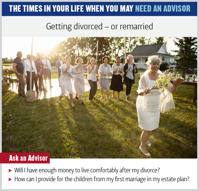 Graphic showing a photo of a middle-aged woman throwing the bouquet at her wedding. The text reads: Getting divorced—or remarried. Ask an advisor: Will I have enough money to live comfortably after my divorce? How can I provide for the children from my first marriage in my estate plan?