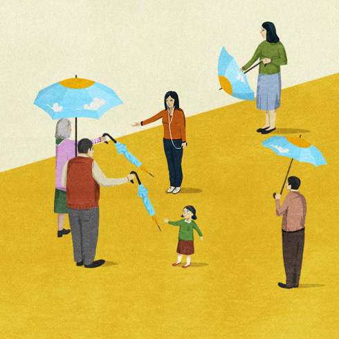 Illustration of elderly couple handing out umbrellas to family members