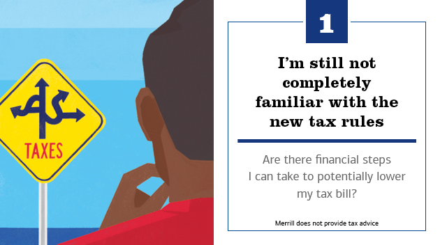 Illustration of a man looking at a road sign, which has various arrows on it and says taxes. The text to the right of the slide reads: 1. I'm still not completely familiar with the new tax rules. Are there financial steps I can take to potentially lower my tax bill? Merrill does not provide tax advice.