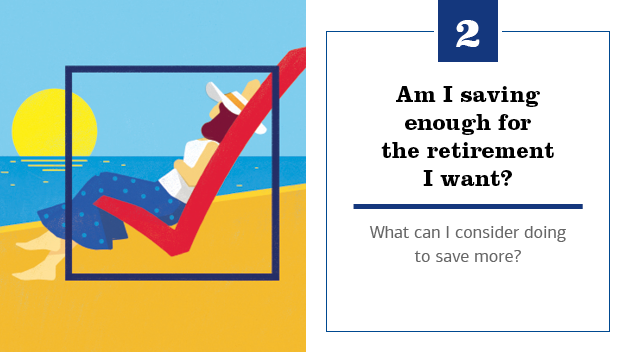 Illustration of a woman sitting on the beach looking at the sunset. She's sitting on top of a checkmark, and the illustration has a box inside, signifying a check box. The text to the right of the slide reads: 2. Am I saving enough for the retirement I want? What can I consider doing to save more?