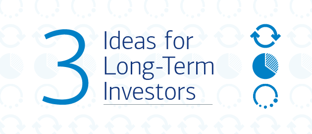Title slide with investing symbols in the background and the header text: 3 ideas for long-term investors.